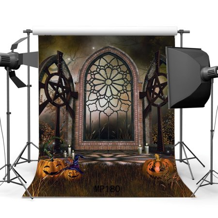 Halloween Horror Nights Doors Open (MOHome Polyster 5x7ft All Saint's Day Backdrop Happy Halloween Horror Night Pumpkin Jungle Forest Trees Grass Field Vintage Arch Door Masquerade Photography Background Photo Studio)