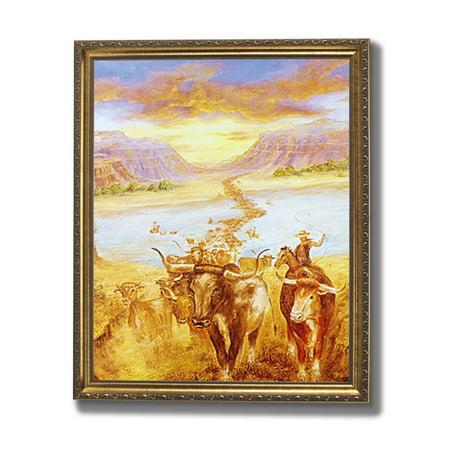Texas Cow Longhorn Steer Cattle Cowboy Western Rodeo Animal Wall Picture  Gold Framed Art Print - Walmart.com b04a01841ba7