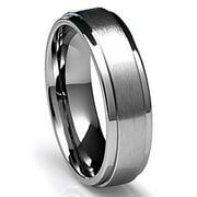 mens wedding ring titanium 6mm band with flat brushed top and polished finish edges - Titanium Wedding Ring