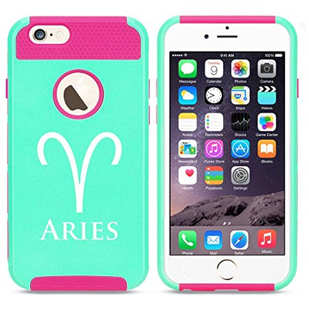Apple Iphone 6 Plus   6S Plus Shockproof Impact Hard Case Cover Horoscope Zodiac Birth Sign Aries  Light Blue Hot Pink  Mip