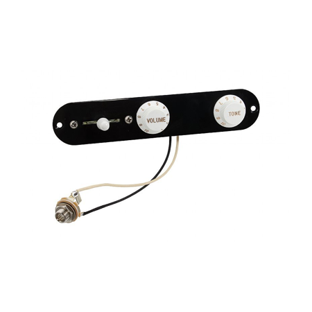 - Fender Telecaster Loaded 3-Way Control Plate w/Push-Pull Series-Parallel, B/W