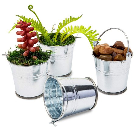 48-Count 2-Inch Mini Silver Metal Tin Bucket Pails With Handles For Party Favors And Succulents Small Silver Favor Tins