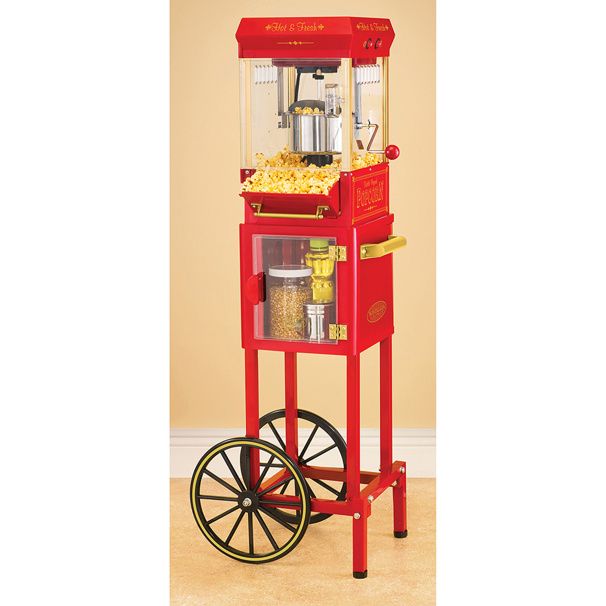 Nostalgia Old-Fashioned Kettle Popcorn Cart, Red