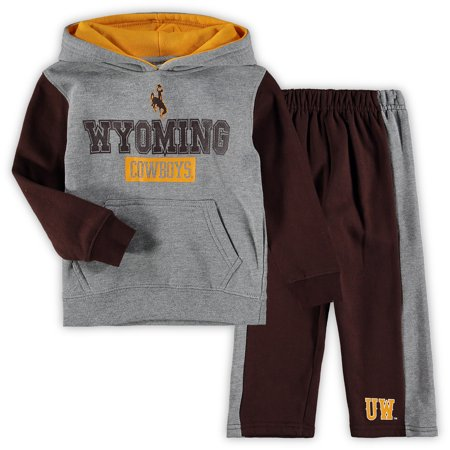 Wyoming Cowboys Colosseum Toddler Back To School Fleece Hoodie And Pant Set - Heathered Gray/Brown
