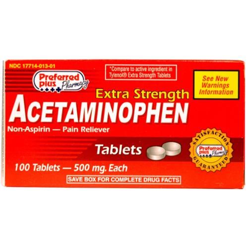 Acetaminophen  Extra Strength 500mg Tablets 100 ea (Pack of 3)