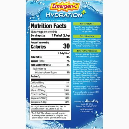 Emergen-C Hydration+ (18 Ct, Lemon Lime Flavor) Hydration Powder Mix