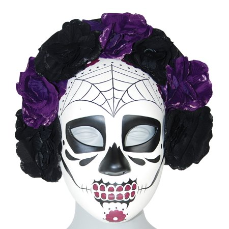 Day Of The Dead Sugar Skull  Eye Mask Purple Roses Dia De Los Muertos (Women's Dia De Los Muertos Mask)