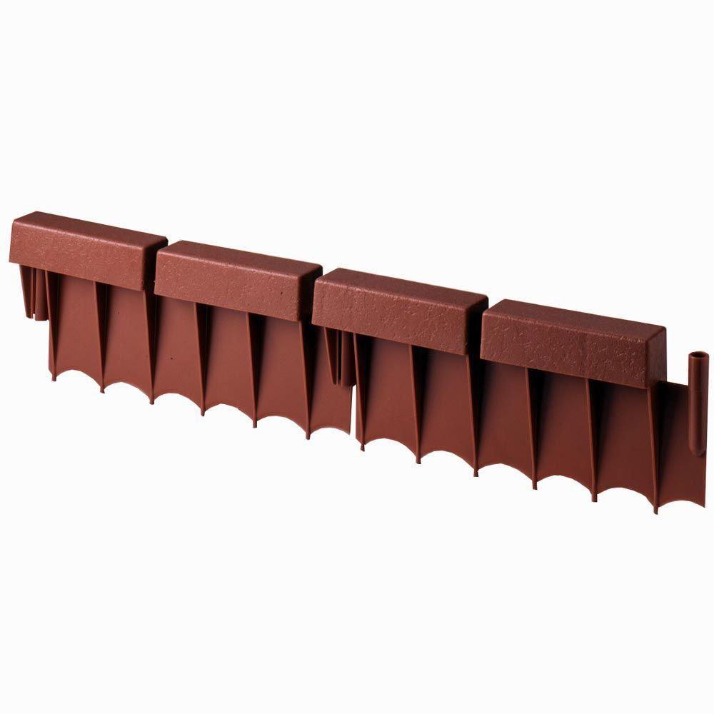 Suncast BBE10TC 10 Foot Interlocking Brick Resin Border Edging, 12 Inch Sections