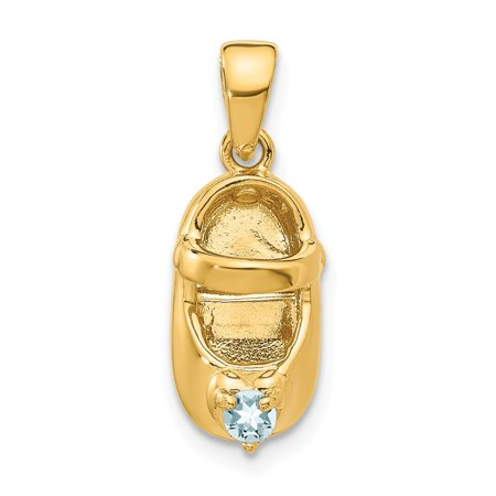Roy Rose Jewelry 14K Yellow Gold 3-D March/Synthetic Stone Engraveable Baby Shoe Charm Pendant Gold 3d Globe Charm