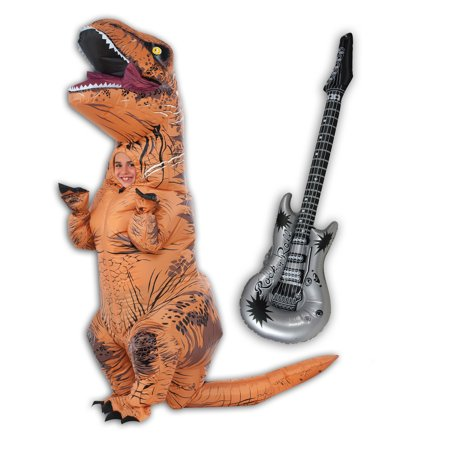 Inflatable Child T-Rex and Guitar Costume - Inflatable Air Guitar