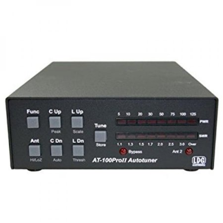 LDG Electronics AT-100PROII Automatic Antenna Tuner 1.8-54 MHz, 1-125 Watts, Updated features include an LED indicator for antenna selection and an LED to indicate when in bypass .2 Year