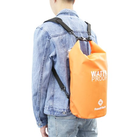 Foto&Tech Orange 10LT Waterproof Dry Bag Roll Top Dry Compression Sack Floating Dry Gear Bag Storm Sack+Backpack Style Padded Shoulder Straps for Kayaking/Boating/Beach/Rafting/Hiking/Camping/Fishing