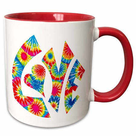 3dRose The Word Love in a Vintage Funky Retro 60s Hippie Tie-Dye Pattern - Two Tone Red Mug, 11-ounce (60s Tie)