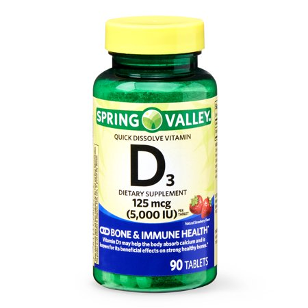 Spring Valley Quick Dissolve Vitamin D3 Tablets, 125 mcg (5000 IU), Natural Strawberry Flavor, 90 (1.53 Ct Natural)