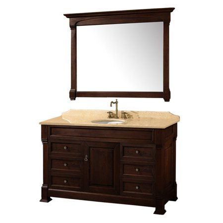 Wyndham Collection Andover 55 inch Single Bathroom Vanity in Dark Cherry, Ivory Marble Countertop, Undermount Oval Sink, and 50 inch Mirror