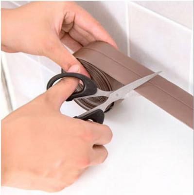 Waterproof Self Adhesive Sealing Strip Kitchen Caulk Tape and Bathroom Wall Sealing Tape Caulk Sealer Moisture Proof PVC Edge Guard Anti-Scratch Wall Decoration(Brown 38mm×3.2m)