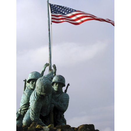 Close Up of the Iwo Jima Bronze Statue Showing Detail of the Sculpture Print Wall Art