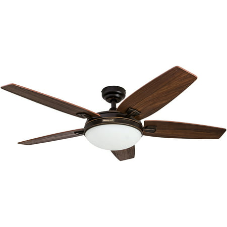 48 Honeywell Carmel Oil Rubbed Bronze Ceiling Fan With Integrated Light And Remote