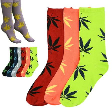 3 Pairs High Quality Cotton Socks Fashion Marijuana leaf Casual Long Unisex