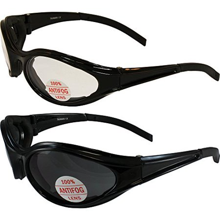 Two Pairs Global Vision Windmaster Padded Motorcycle Sunglasses Black Frame Clear Smoke Lens