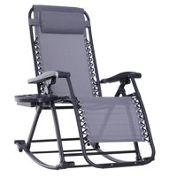 Folding Zero Gravity Rocking Lounge Chair with Cup Holder -