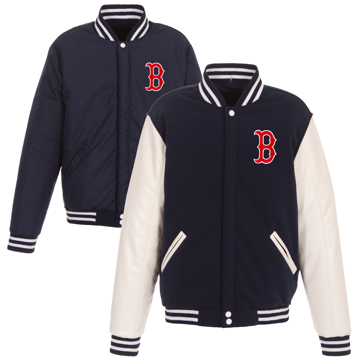 Boston Red Sox JH Design Reversible Fleece Jacket with Faux Leather Sleeves - Navy