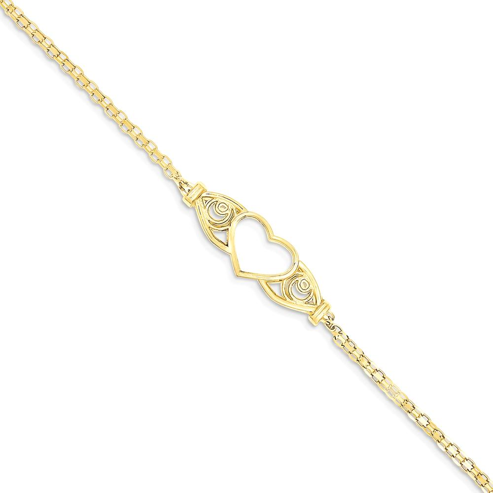 IceCarats 14k Yellow Gold Heart Anklet Ankle Beach Chain Bracelet Fine Jewelry Ideal Mothers Day Gifts For Mom Women... by IceCarats