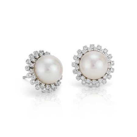 Harry Chad Enterprises 29938 0.20 CT 14K White Gold Ladies Round Diamond & Pearl Stud Earring ()