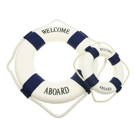 Nautical Hanging Decorations (Bilipala Rustic Nautical Decorative Welcome Cloth Life Ring Buoy Home Wall Door Hangings Decor, Blue, Pack of)