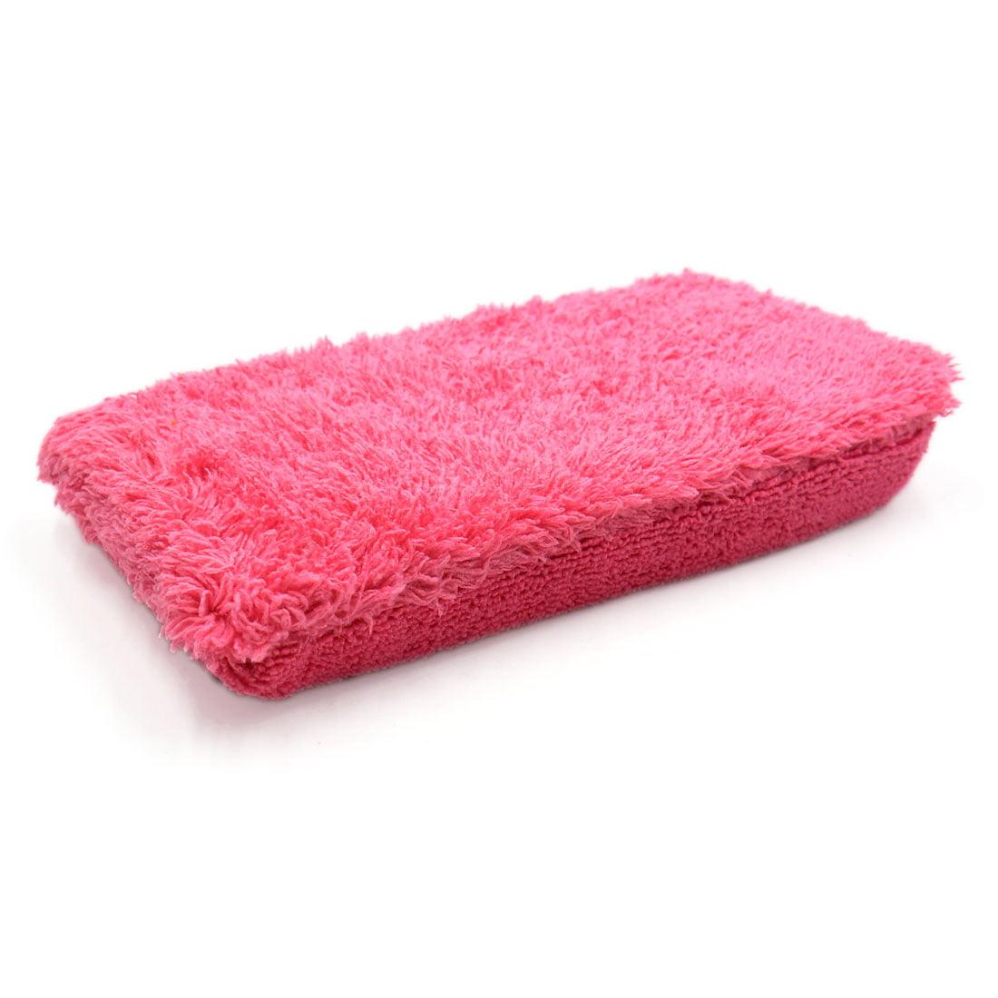 Microfiber Chenille Car Auto Wash Brush Sponge Pad Cleaning Polishing Tool Pink