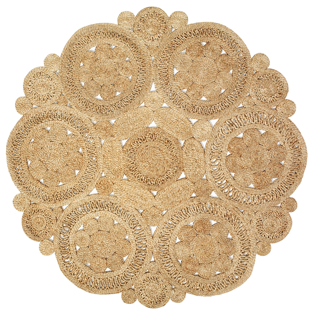 LR Home Natural Jute Natural Round Indoor Area Rug(8' x 8')