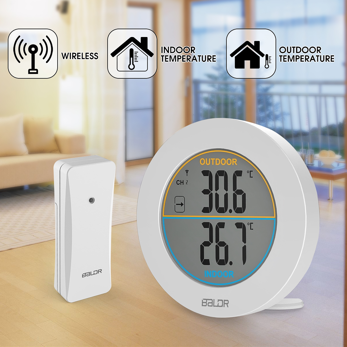 Wireless Indoor Outdoor Digital Thermometer with Sensor,LCD Temperature Display Monitor ,Table Stand Wall Mount