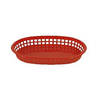 Thunder Group PLBK938B, 9-3/8-Inch Oval Polypropylene Fast Food French Fries Basket, Plastic Bread Basket, 12-Piece Pack](Plastic Food Baskets)