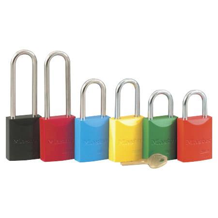 "Pro Series High Visibility Aluminum Padlocks, 1/4""Dia, 1 1/16""L X 25/32""W, Red"