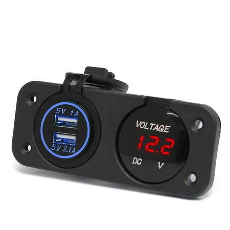 Waterproof LED Dual 2 USB Port Charger With DC Voltmeter Digital For Car Boat Marine Carvans