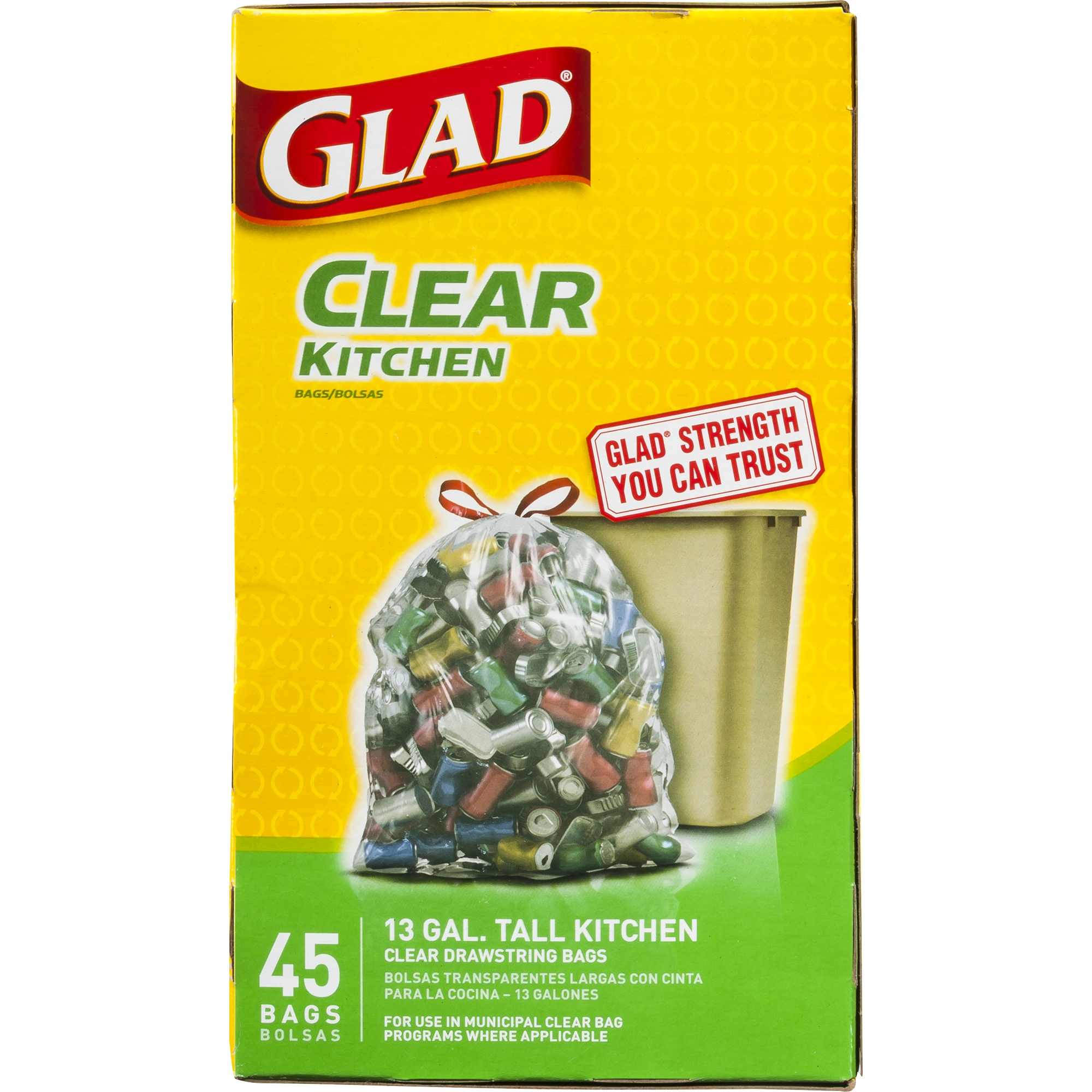 Glad Recycling Tall Kitchen Drawstring Trash Bags, Clear, 13 Gallon, 45 Count