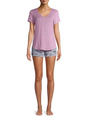 Gloria Vanderbilt Women's and Women's Plus Lush Knit T-Shirt and Shorts 2-Piece Pajama Set