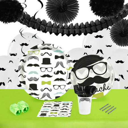 Mustache Man 16-Guest Tableware and Decoration - Mustache Decoration