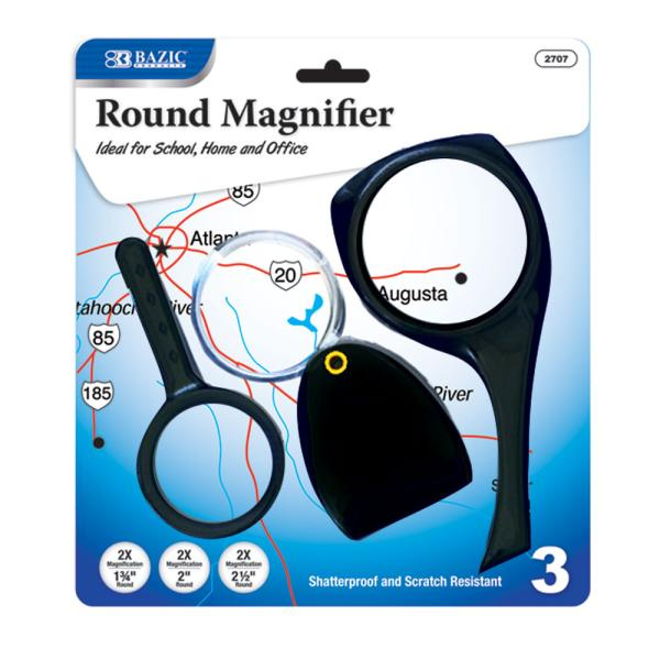 BAZIC 2x Magnifier Magnifying Glass Sets 144 Packs of 3