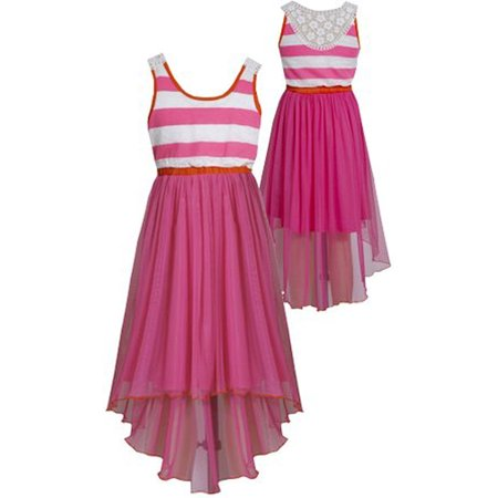 Little Girls 4-6X Fuchsia-Pink Crochet Lace Back High Low Chiffon Maxi Dress [BNJ02045]