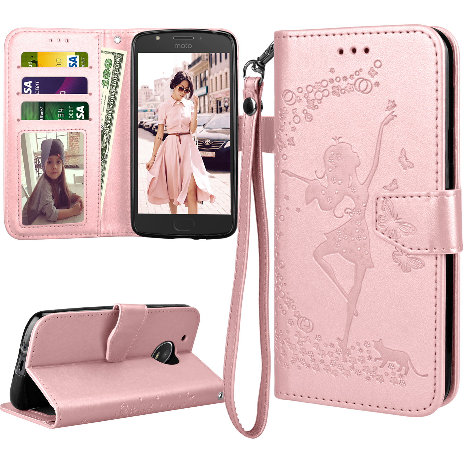 new styles 36c67 98a2f Moto E4 Case For Girls, 2017 Motorola Moto E 4th Generation Flip Cover,  Tekcoo Luxury PU Leather [Rose Gold] Wallet ID Cash Credit Card Slots  Holder ...