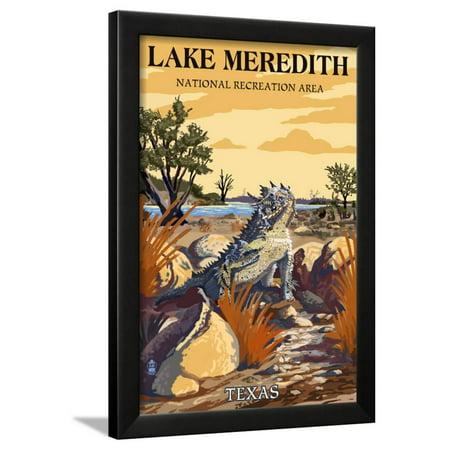 Lake Meredith National Recreation Area, Texas - Horned Lizard Framed Print Wall Art By Lantern Press