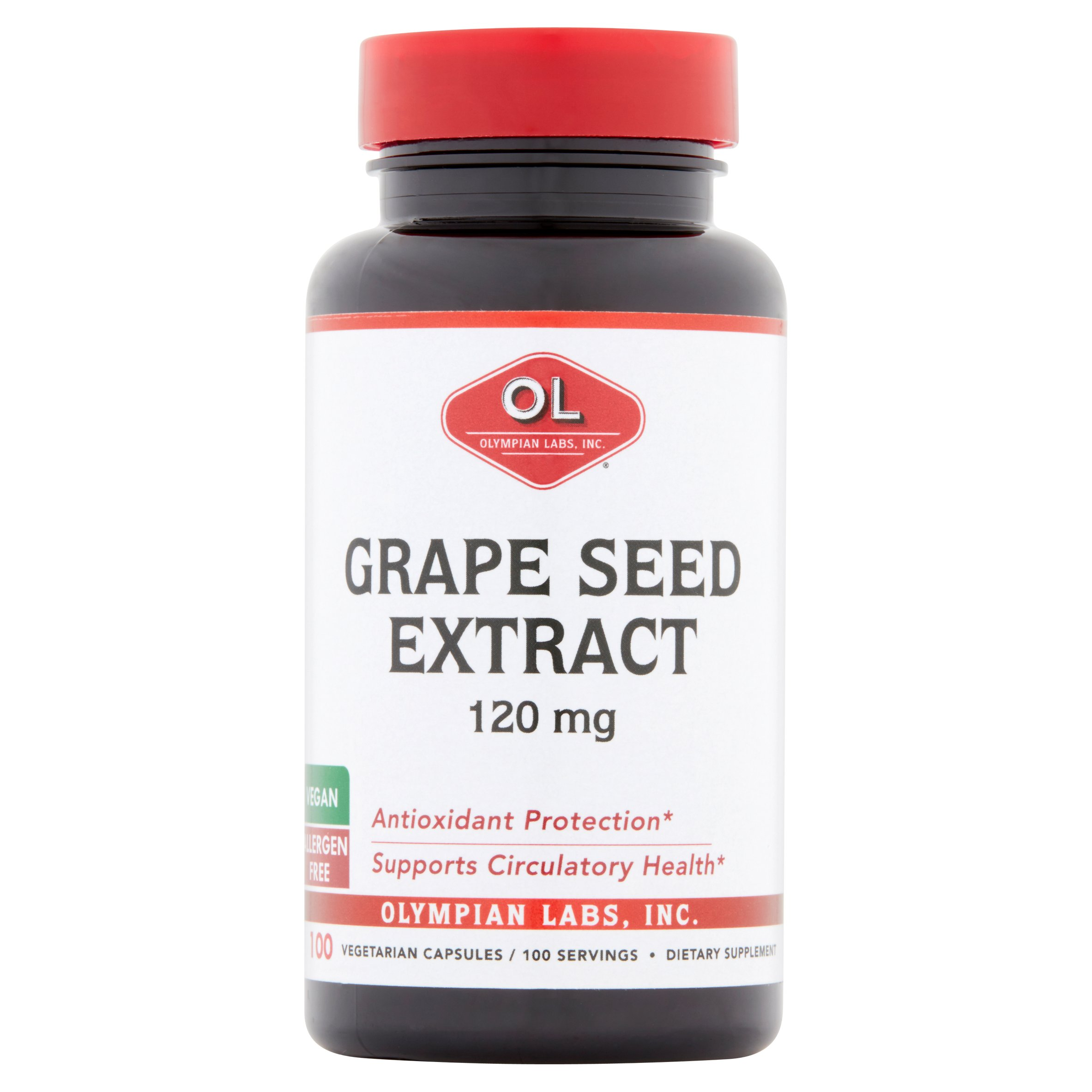 Olympian Labs Grape Seed Extract Vegetarian Capsules, 120 mg, 100 count
