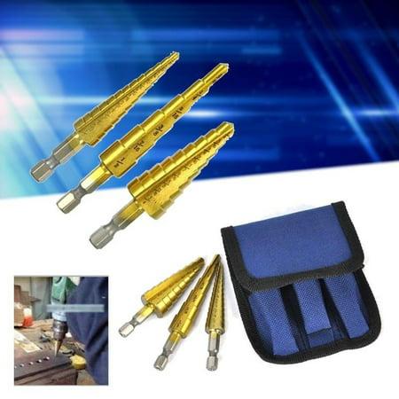 Anauto 3Pcs/Set Titanium Nitride HSS Steel Coated Step Drill Bits Quick Shank Hole