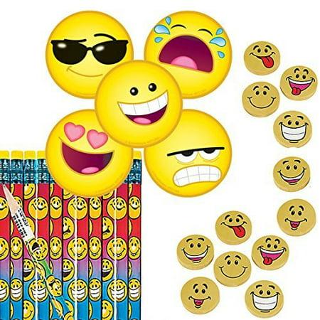 Emoji School Supplies or Party Favors for 12 - Emoji Pencils (12), Emoji Stickers (100) and Emoji Erasers (12) - Boys Party Themes
