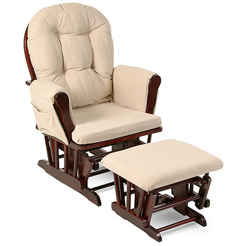 Superbe Storkcraft Bowback Glider And Ottoman Cherry Finish And Beige Cushions