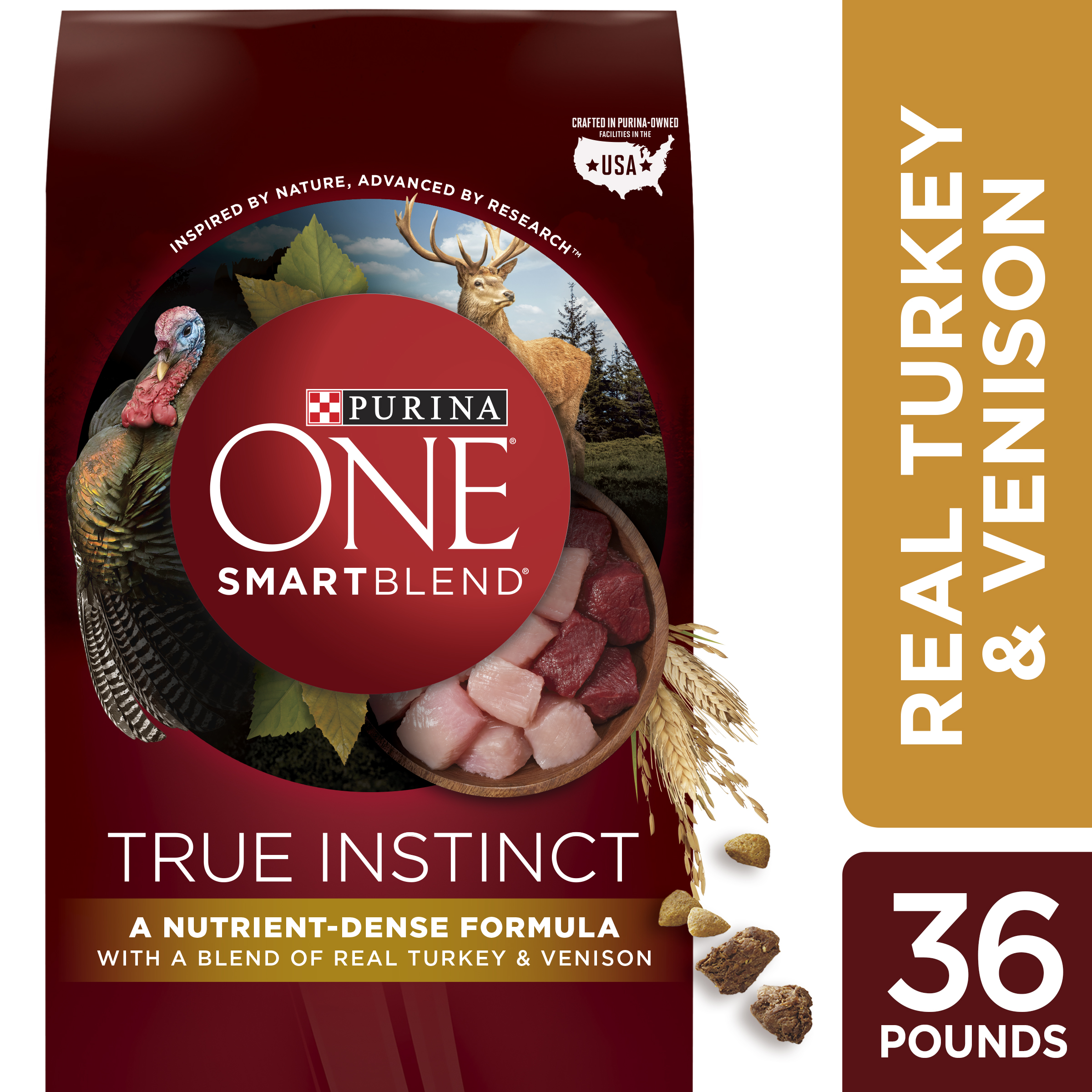 Purina ONE High Protein Natural Dry Dog Food; SmartBlend True Instinct With Real Turkey & Venison - 36 lb. Bag
