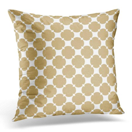 CMFUN Golden Ornamental Simple Abstract Geometric in White and Gold Colors of Rounded Grid Mesh Lattice Carved Pillow Case Pillow Cover 20x20 inch