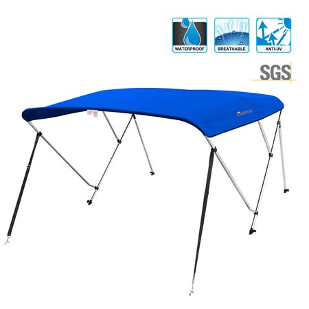KING BIRD 3 Bow Boat Bimini Top Cover Boat Canopy Sun Shade Waterproof 1 Inch Stainless Aluminum Frame 50
