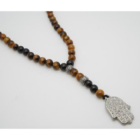 8 mm black agate, tiger eye stone, silver stainless steel inserts and spiritual stainless steel hamsa hand (Tigers Eye Cross)